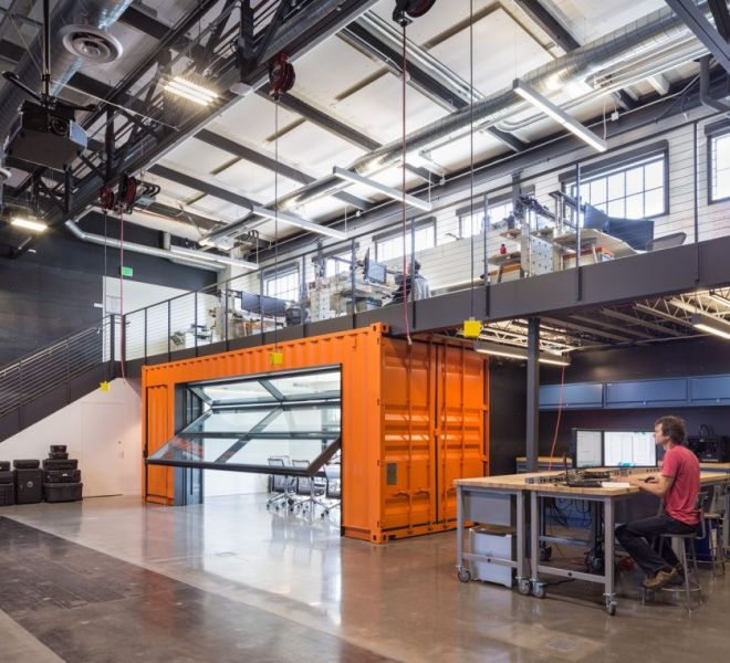 Autodesk Robotics Lab Brainstorms in a Shipping Container